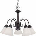 "Ballerina Mahogany Bronze Down Light Chandelier White Shades 24""Wx18""H"