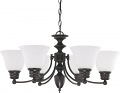 "Empire Mahogany Bronze Chandelier Frost Glass 26""Wx14""H"