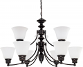 "Empire Mahogany Bronze Chandelier Frost Glass 32""Wx18""H"