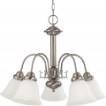 "Ballerina Brush Nickel Chandelier White Shades 24""Wx18""H"