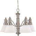 "Gotham Brushed Nickel Down Light Chandelier Frost White Glass 24""Wx17""H"