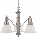 "Gotham Brushed Nickel Down Light Chandelier Frost White Glass 22""Wx17""H"