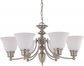 "Empire Brushed Nickel Chandelier Frost Glass 26""Wx14""H"