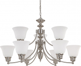 "Empire Brushed Nickel Chandelier Frost Glass 32""Wx18""H"