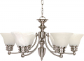 "Empire Brushed Nickel Chandelier Alabaster Glass 26""Wx14""H"