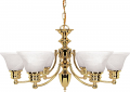"Empire Polished Brass Chandelier Bell Alabaster Glass 26""Wx14""H"