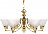 """Empire Polished Brass Chandelier Bell Alabaster Glass 26""""Wx14""""H"""
