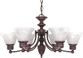 "Empire Old Bronze Chandelier Alabaster Glass 26""Wx14""H"