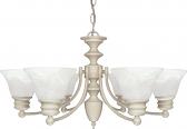 """Empire Textured White Chandelier Alabaster Glass 26""""Wx14""""H"""