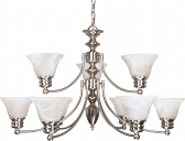 "Empire Brushed Nickel Chandelier Alabaster Glass 32""Wx18""H"