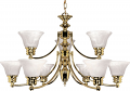 "Empire Polished Brass Chandelier Glass Shades 32""Wx18""H"