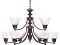 "Empire Old Bronze Chandelier Alabaster Glass 32""Wx18""H"
