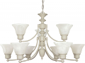 "Empire Textured White Chandelier Alabaster Glass 32""Wx18""H"