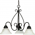 "Castillo Flat Black Downlight Chandelier Alabaster Glass 26""Wx20""H"