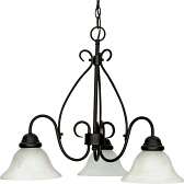 "Castillo Flat Black Down Light Chandelier Alabaster Glass 26""Wx20""H"