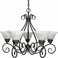 "Castillo Flat Black Uplight Chandelier Alabaster Glass 28""Wx21""H"