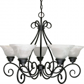 "Castillo Flat Black Chandelier Alabaster Glass 28""Wx21""H"