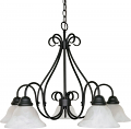 "Castillo Flat Black Down Light Chandelier Alabaster Shade 28""Wx21""H"