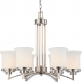 "Harmony Brushed Nickel Drum Shade Chandelier 26""Wx22""H"