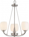 "Helium Brushed Nickel Chandelier Satin Glass Shades 20""Wx25""H"