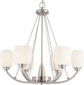 "Helium Brushed Nickel Chandelier Satin Glass Shades 27""Wx27""H"