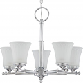"Teller Polished Chrome Chandelier White Glass 22""Wx19""H"