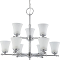 "Teller Polished Chrome Chandelier White Glass 30""Wx27""H"