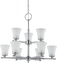 "Teller Polished Chrome Chandelier Glass Shades 30""Wx27""H"