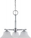 "Teller Polished Chrome Chandelier Glass Shades 24""Wx21""H"