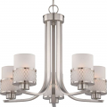 "Fusion Brushed Nickel Drum Shade Chandelier 22""Wx20""H"