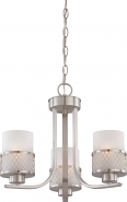 "Fusion Brushed Nickel Drum Shade Chandelier 18""Wx15""H"