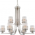 """Fusion Brushed Nickel Drum Shade Chandelier 31""""Wx27""""H"""