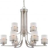 "Fusion Brushed Nickel Drum Shade Chandelier 31""Wx27""H"