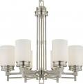 "Wright Brushed Nickel Chandelier White Drum Glass 26""Wx28""H"