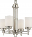 "Wright Brushed Nickel Chandelier White Drum Glass 22""Wx25""H"