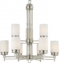"Wright Brushed Nickel Chandelier White Drum Glass 32""Wx36""H"