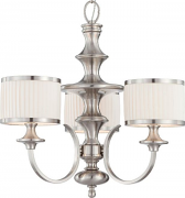 "Candice Brushed Nickel Chandelier Drum Shades 24""Wx24""H"