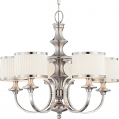 "Candice Brushed Nickel Chandelier Drum Shades 28""Wx24""H"
