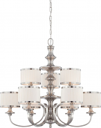 "Candice Brushed Nickel Chandelier Drum Shades 36""Wx32""H"