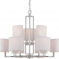 "Gemini Brushed Nickel Oval Shade Chandelier 31""Wx26""H"