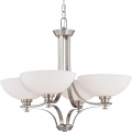 "Bentley Brushed Nickel Chandelier Frosted Glass Shades 28""Wx23""H"