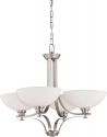 """Bentley Brushed Nickel Chandelier Frosted Glass Shades 28""""Wx23""""H"""