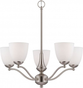 """Patton Brushed Nickel Chandelier Glass Shades Uplight 25""""Wx20""""H"""