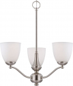 "Patton Brushed Nickel Chandelier Glass Shades 21""Wx23""H"