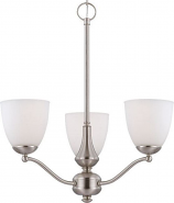 """Patton Brushed Nickel Chandelier Glass Shades 21""""Wx23""""H"""