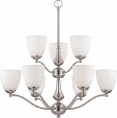 """Patton Brushed Nickel Chandelier Glass Shades 30""""Wx31""""H"""
