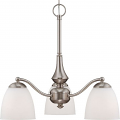"Patton Brushed Nickel Down Light Chandelier Glass Shades 21""Wx19""H"
