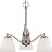 """Patton Brushed Nickel Down Light Chandelier Glass Shades 21""""Wx19""""H"""