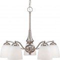 """Patton Brushed Nickel Down Light Chandelier Glass Shades 25""""Wx20""""H"""