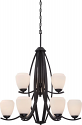 """Bali Black Chandelier Etched Opal Glass Shades 29""""Wx34""""H"""